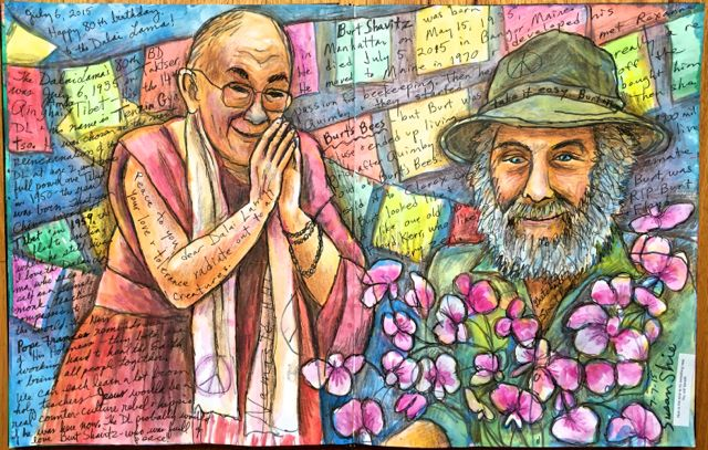 Dalai Lama and Burts Bees at 80 drawing.  ©Susan Shie 2015.
