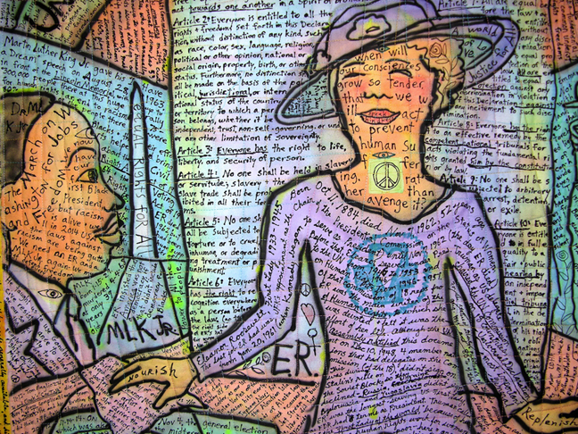 ER (Eleanor Roosevelt and Human Rights)-Page of Potholders in the Kitchen Tarot. detail view. ©Susan Shie 2014.