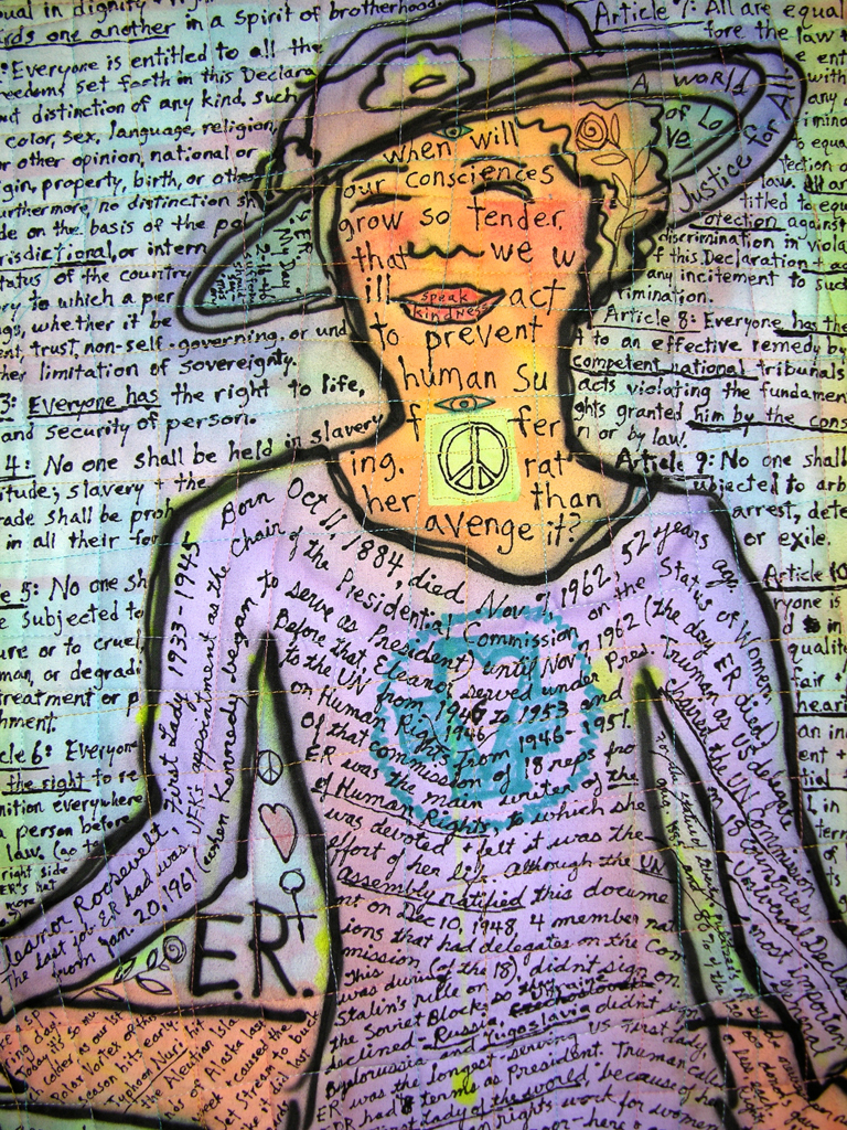 ER: Eleanor Roosevelt-Page of Potholders in the Kitchen Tarot. detail view.